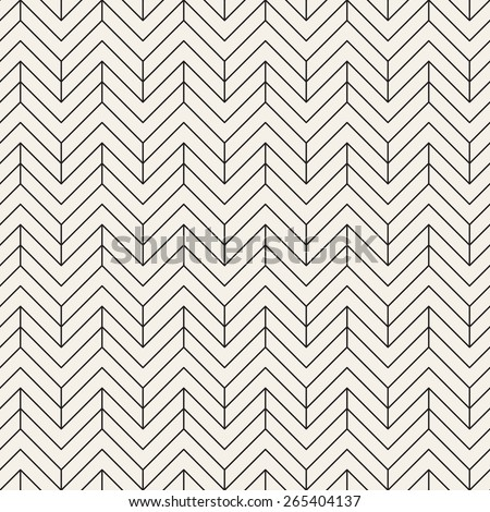 Vector seamless pattern. Modern stylish texture with chevron or zigzag. Repeating geometric background with linear grid. - stock vector