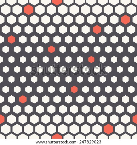 Vector seamless pattern. Modern stylish texture with randomly disposed red accents . Reticulate geometric tiles with thickness which decreases gradually. - stock vector