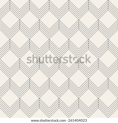 Vector seamless pattern. Modern stylish texture with squares and chevrons. Repeating geometric background with linear grid. - stock vector