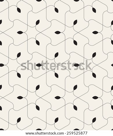 Vector seamless pattern. Monochrome graphic design. Decorative geometric grid with stylized leaves. Floral linear background. Contemporary graphic design. - stock vector