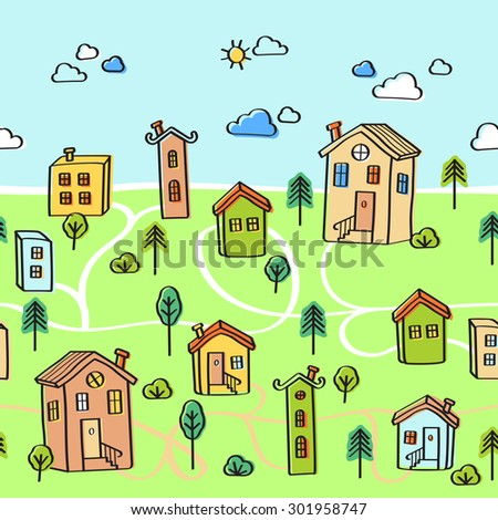 Vector seamless pattern of a small town with funny vintage houses  - stock vector