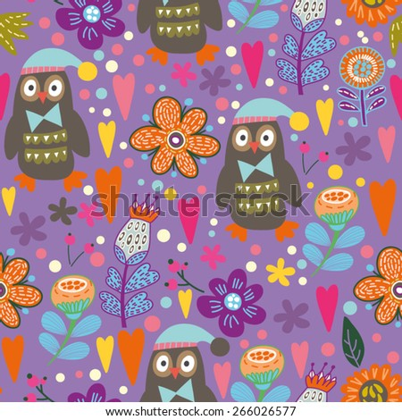 Vector seamless pattern of birds and flowers in bright colors. Beautiful seamless pattern. Vector backdrop. Use for wallpaper,pattern fills, web page background.  - stock vector