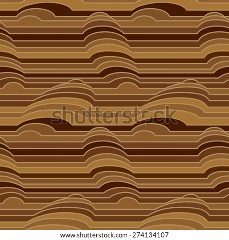 Vector seamless pattern of colorful stripes with simulated three-dimensional object - stock vector