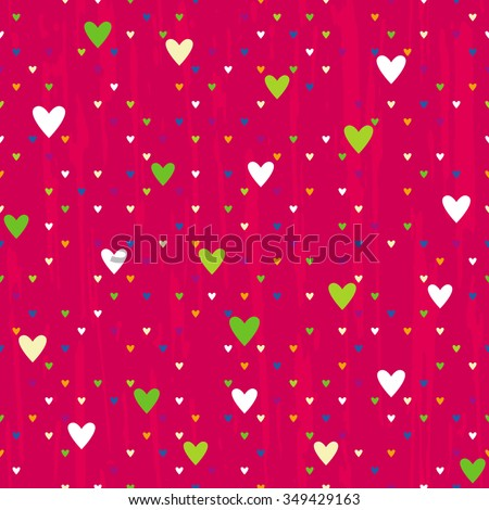 Vector seamless pattern of different-sized hearts on a red background - stock vector
