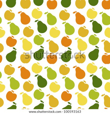 Vector seamless pattern of fruit - apple and pear - stock vector