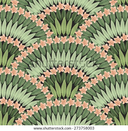 Vector seamless pattern of hand drawn tropical pink flowers and green leaves on a black background  - stock vector