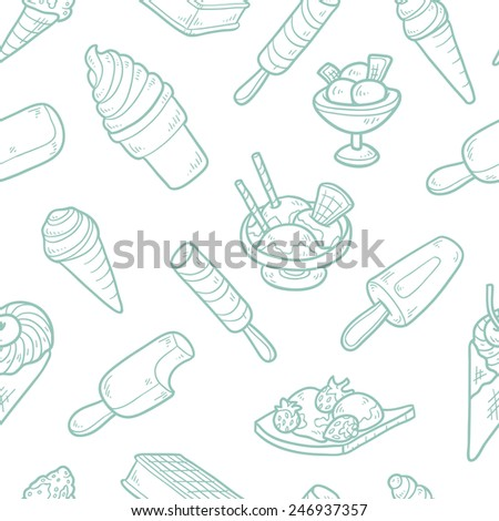 Vector seamless pattern of ice cream - stock vector