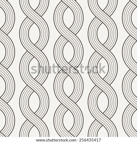 Vector seamless pattern of interwoven ropes in contrasting colors - stock vector