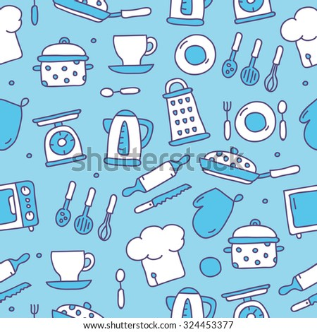 Vector seamless pattern of kitchen icons on a blue background, hand-drawn.  - stock vector