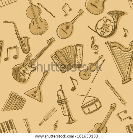 Vector Seamless Pattern of Musical Instruments - stock vector