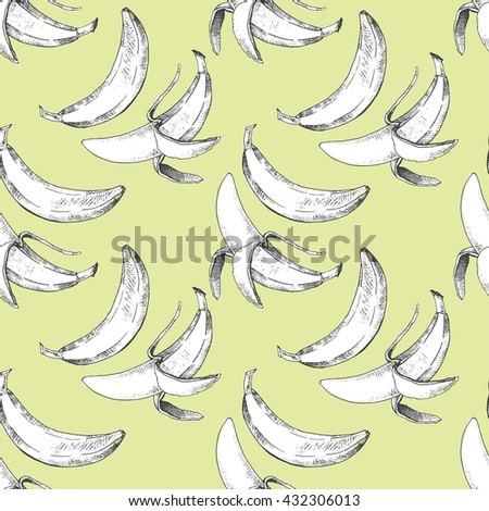 Vector seamless pattern of repeating banana fruit. Black and white  yellow season vegetarian food hand drawn illustration isolated on trendy yellow background. - stock vector