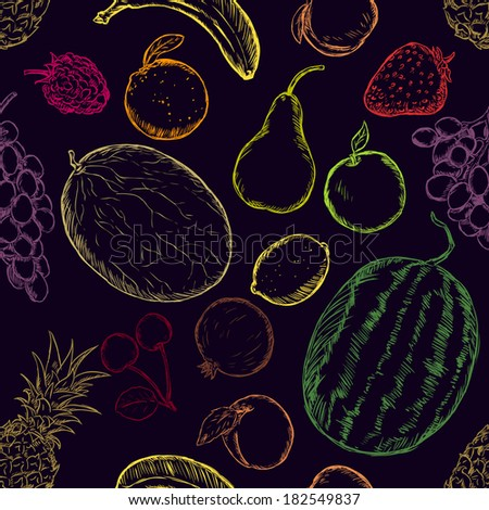 Vector Seamless Pattern of Sketch Fruits on Black Background - stock vector
