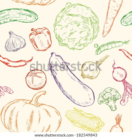 Vector Seamless Pattern of Sketch Vegetables on white Background - stock vector