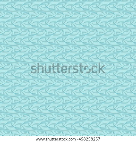 Vector seamless pattern of wavy lines. Geometric background with visual effect of volume folds. Simple illustration with texture of fabric, textile for print, web - stock vector