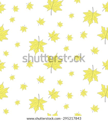 Vector seamless pattern of yellow maple leaves on a white background. Seamless background from the leaves of the tree. - stock vector
