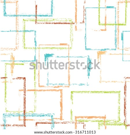 Vector Seamless Pattern . Seamless Texture . Rectangles Geometric Shapes in Grunge Style . Vintage texture. Block Wall Background.  - stock vector