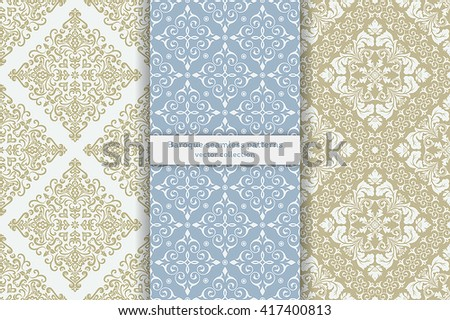 Vector seamless pattern. Set of luxury elegant baroque textures. Patterns can be used as background, fabric print, surface texture, wrapping paper, web page backdrop, wallpaper and more - stock vector