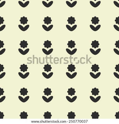 Vector seamless pattern. Stylized black flowers on a yellow background. - stock vector