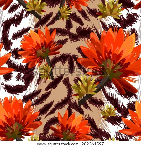 vector seamless  pattern -tiger skin with tropical flowers - stock vector