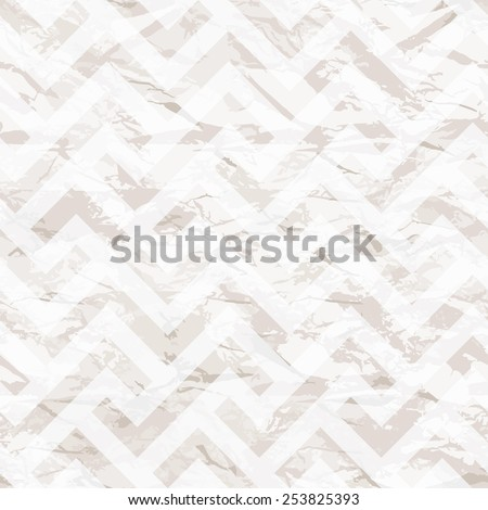 Vector seamless pattern. Tileable texture of crumpled paper. White rumpled background. Texture of wrinkled paper with subtle geometric print - stock vector