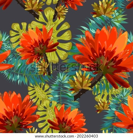 vector seamless  pattern - tropical flowers  - stock vector