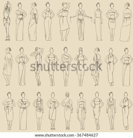 Vector seamless pattern various evening dresses set and casual dresses skirt sundresses model in various poses in fashionable clothes. Transformer dresses. Women clothes collection hand drawn sketch - stock vector
