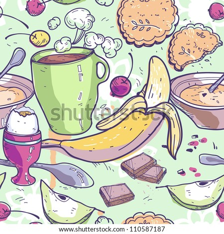 vector seamless pattern with  a breakfast food - stock vector