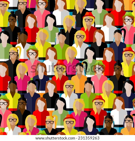 vector seamless pattern with a large group of girls and women. flat  illustration of female community. - stock vector