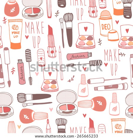 Vector seamless pattern with a variety of cosmetic products - stock vector