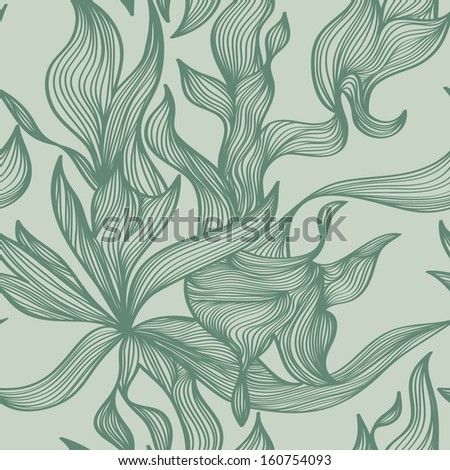 Vector seamless pattern with abstract lines in blue and green colors - stock vector