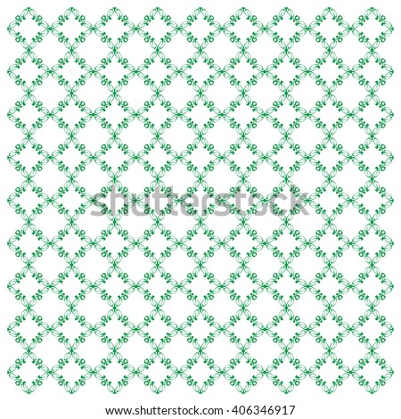 Vector seamless pattern with art ornament. Elements for design . Ornamental lace tracery background. Endless texture.Green . - stock vector