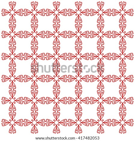 Vector seamless pattern with art ornament. Elements for design . Ornamental lace tracery background. Endless texture.Red  white. - stock vector