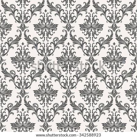 Vector seamless pattern with art ornament. Vintage elements for design in Victorian style. Ornamental lace tracery background. Ornate floral decor for wallpaper. Endless texture - stock vector