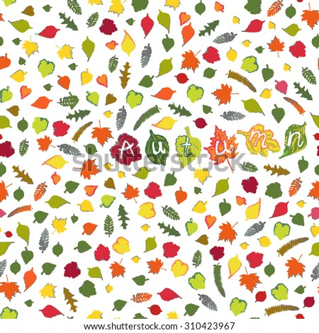 Vector seamless pattern with  autumn leaves  on the white background. Word autumn with colourful letters. - stock vector