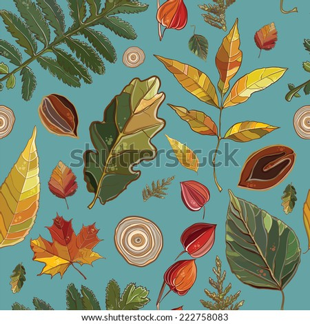 Vector seamless pattern with autumn set leaves, nuts, tree. Background with Thuja; aspen; physalis; alder; elm; willow; maple; oak; Potentilla. eps 10 - stock vector