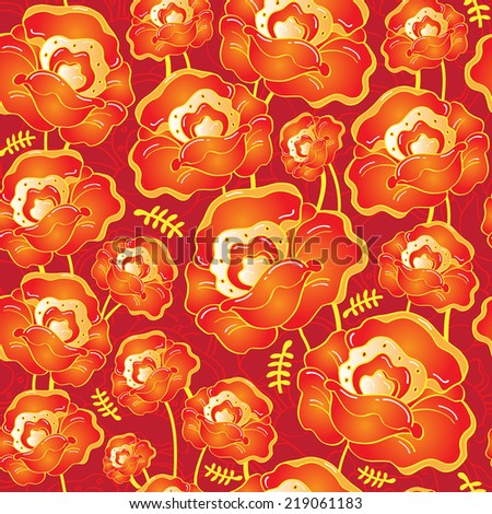 Vector seamless pattern with beautiful red poppies flowers on dark red - stock vector