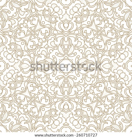 Vector seamless pattern with beige ornament. Vintage element for design in Eastern style. Ornamental lace tracery. Ornate floral decor for wallpaper. Endless texture. Light pattern fill. - stock vector