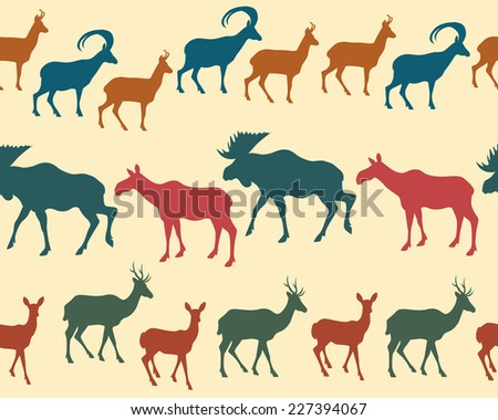 Vector seamless pattern with big game silhouettes. - stock vector