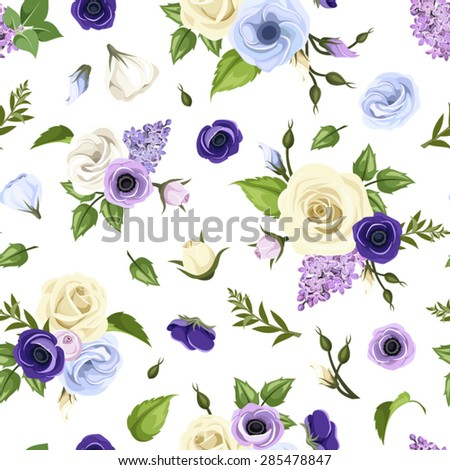 Vector seamless pattern with blue, purple and white roses, lisianthuses, anemones, lilac flowers and green leaves on a white background. - stock vector