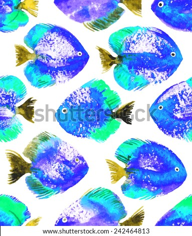 Vector seamless pattern with blue watercolor discus fish - stock vector