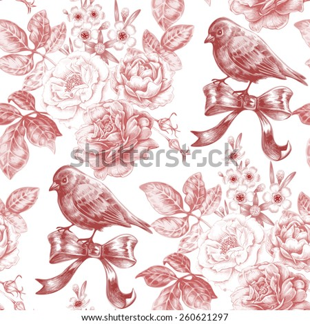 Vector seamless pattern with bouquets of roses, birds and bows. Design for fabrics, textiles, paper, wallpaper, web. Floral ornament. Victorian style. Vintage. - stock vector