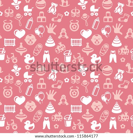 Vector seamless pattern with bright kid icons - abstract background for children - stock vector