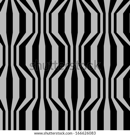 Vector seamless pattern with broken wavy strips in two colors. Traditional geometric decorative vintage background. Simple ornamental black and grey illustration with texture for print, web - stock vector