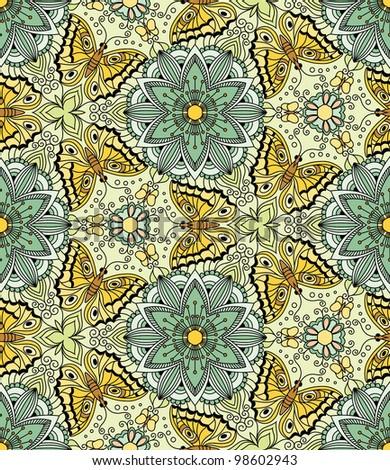 Vector seamless pattern with butterflies. Kaleidoscope - stock vector