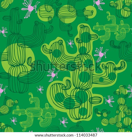 Vector seamless pattern with cactus and insects - stock vector