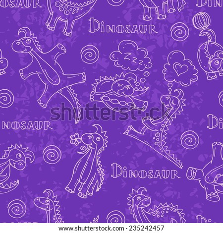 Vector seamless pattern with cartoon and funny dinosaurs on violet background. Background for use in design, web site, packing, textile, fabric - stock vector