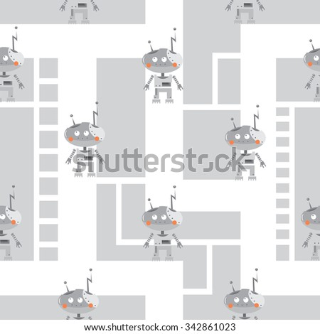 Vector seamless pattern with cartoon robots  on  gray background. - stock vector
