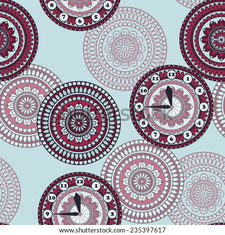 Vector Seamless Pattern with clock and rounded ornament, fully editable eps 10 file with clipping mask and seamless pattern in swatch menu - stock vector