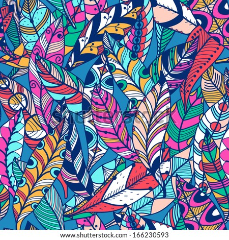 vector seamless pattern with colored abstract feathers - stock vector