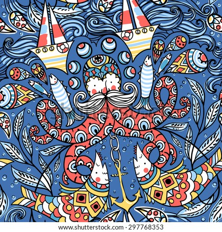 vector  seamless pattern with colored old octopuses, fishes, boats and other nautical elements - stock vector